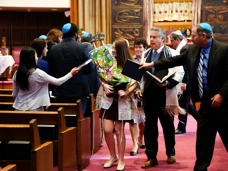 Pittsburgh Temple Sinai Bat Mitzvah walking through the congregation