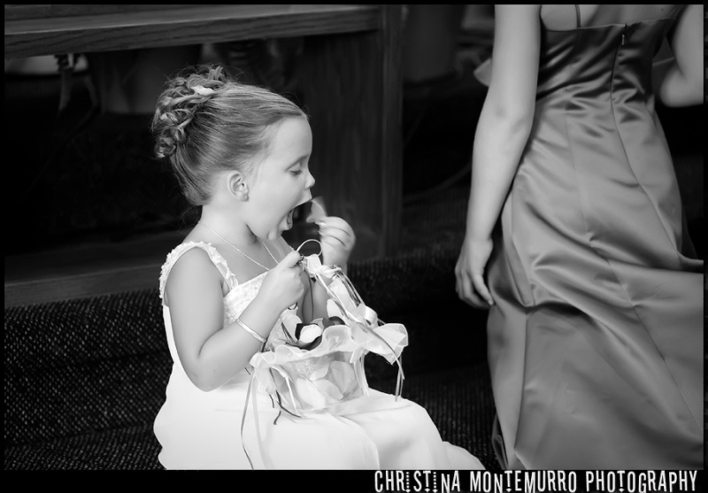 Pittsburgh Wedding Photographer Flower Girl Eating Flowers