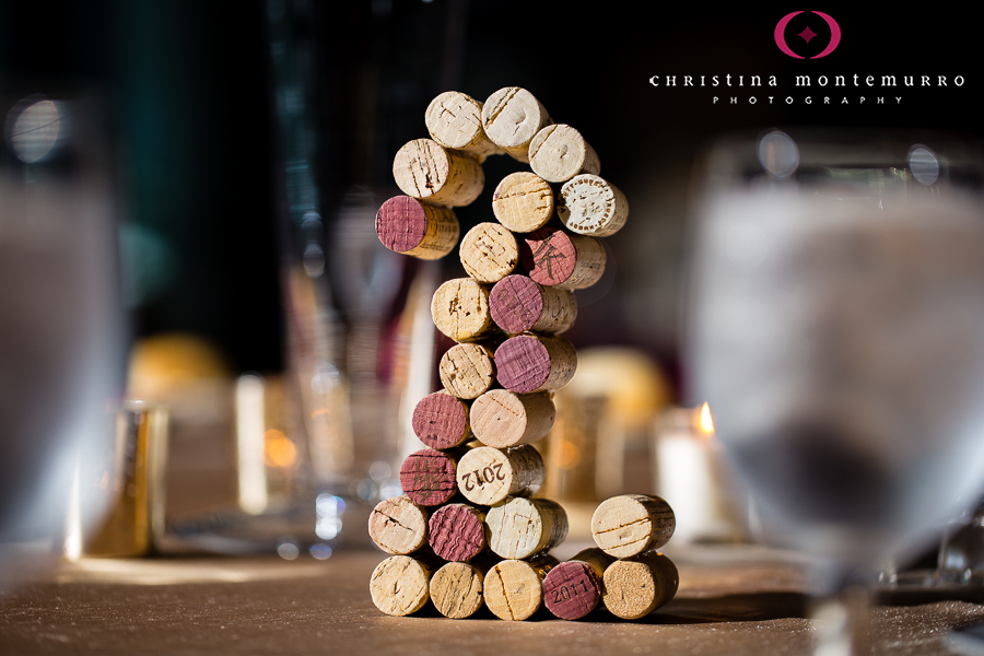 Wedding reception table numbers made from corks!