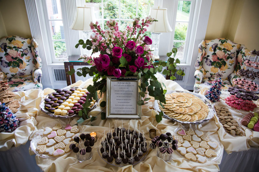 Pittsburgh Cookie Table Display with Pink Roses and Snapdragons and Cake Pops