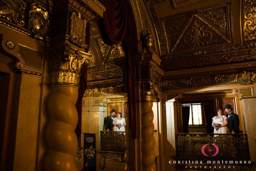 Bride and Groom in the Elegant, Formal Lobby of the Benedum Center in Pittsburgh
