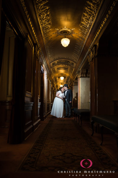 Bride and Groom in the Elegant, Formal Hallway of the Benedum Center in Pittsburgh