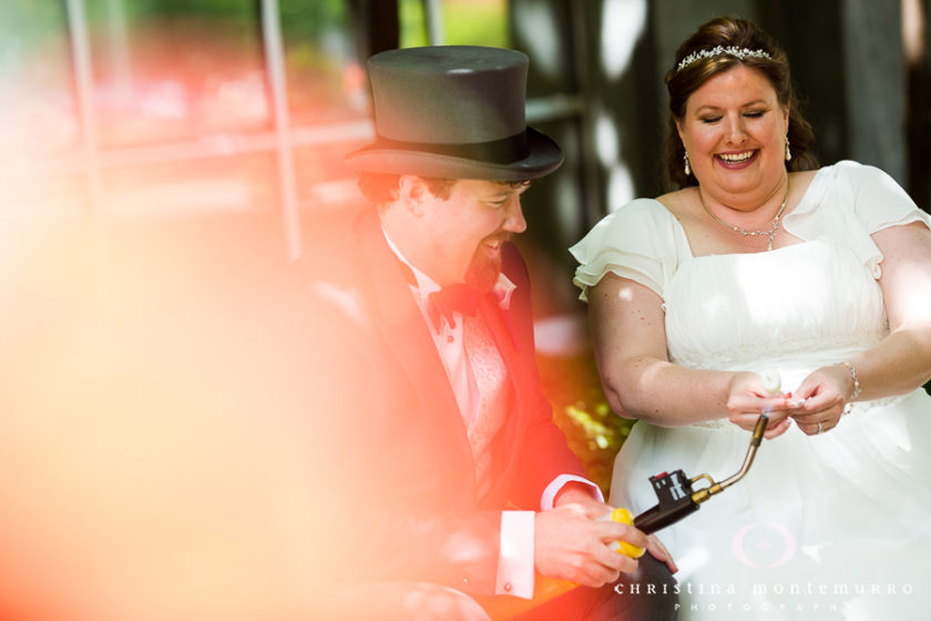Bride and Groom make S'mores with a blow torch at South Side Works in Pittsburgh