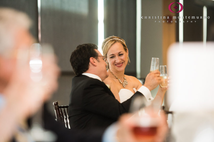 Bride and Groom with Champagne Flutes