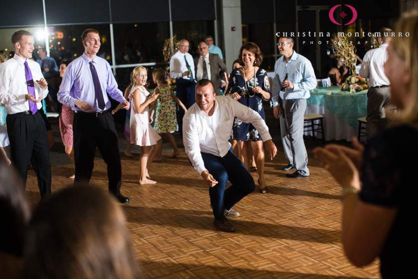 Guests dancing at their wedding reception at the Heinz History Center Mueller Center