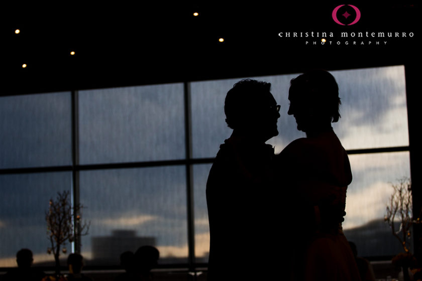 Silhouette Bride and Groom First Dance