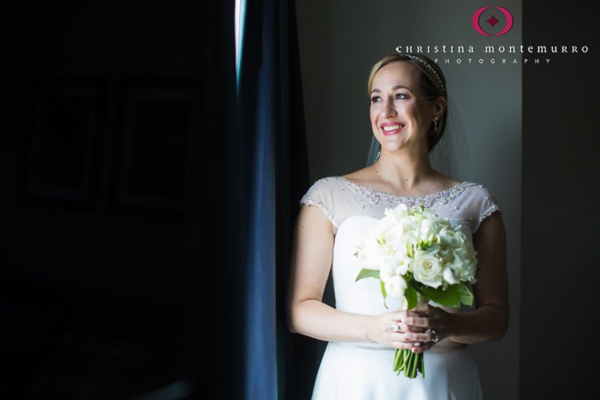 Happy bride with white bouquet before her wedding at Homewood Suites Pittsburgh Wedding_-6