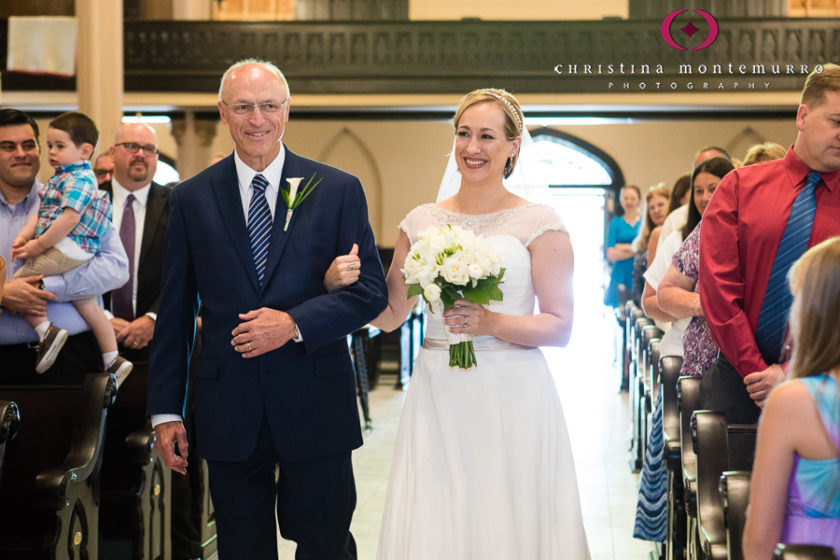 Bride Walking down the aisle with her father at aint Peter Parish Pittsburgh Wedding