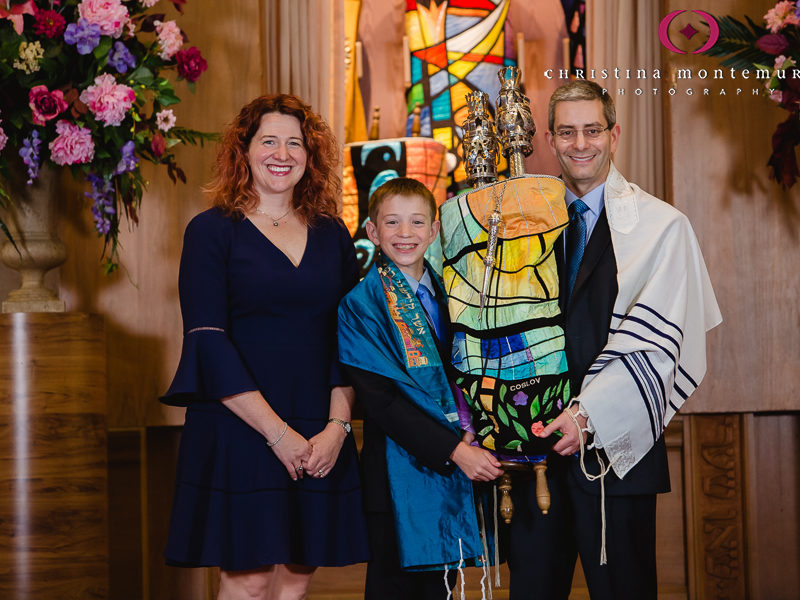 Tree of Life Pittsburgh Bar Mitzvah Boy with his parents and the Torah