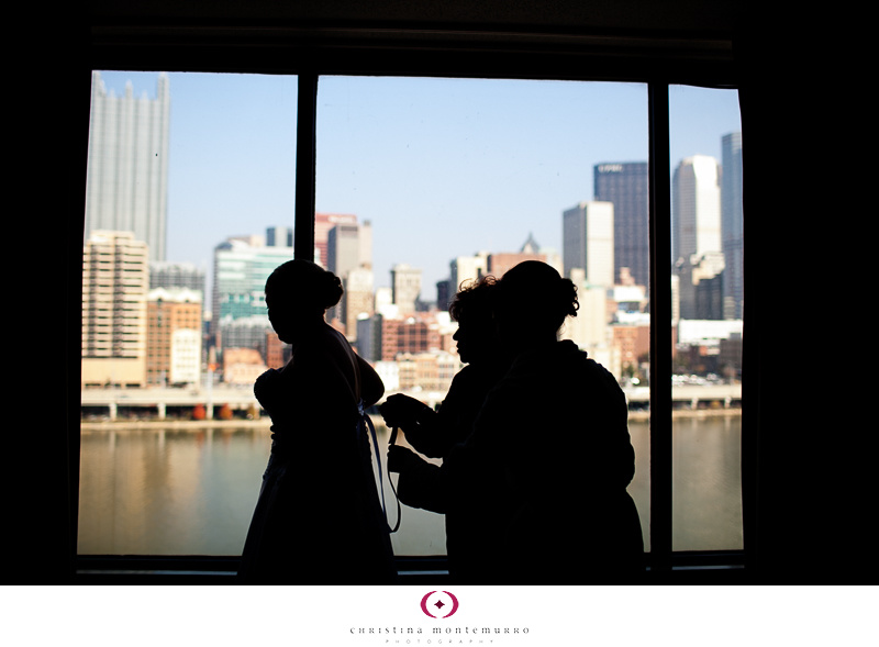Dana Brad Sheraton Station Square Pittsburgh Wedding Photos silhouette
