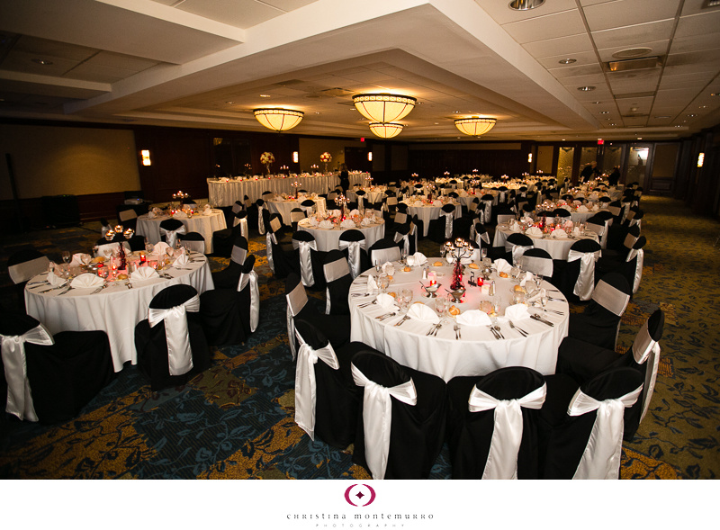 Black White Red Wedding Details - Red Votive Candle Holders, Black Chair Covers with White Bows, Sheraton Station Square Pittsburgh