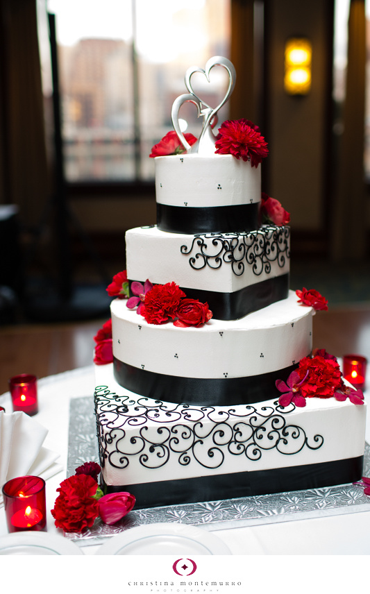 Black White Red Wedding Details And Cake Heart Topper