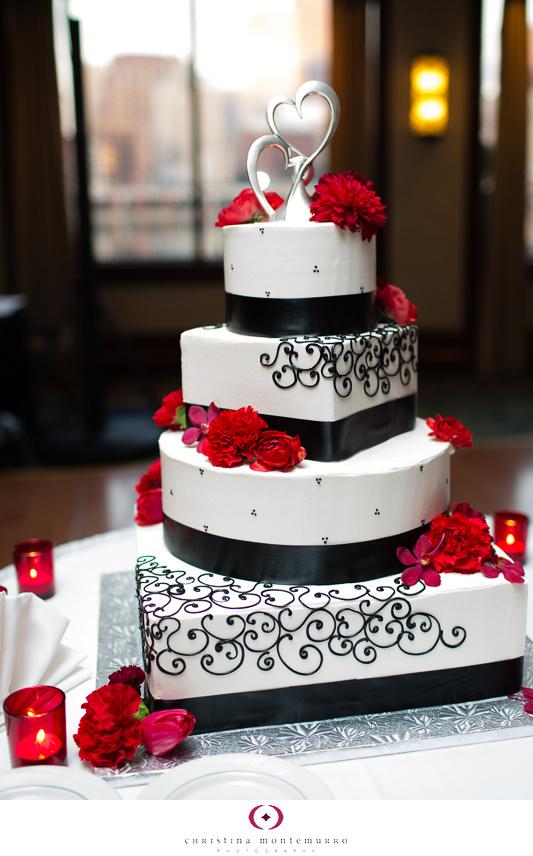 Black White Red Wedding Details black and white wedding cake, heart ...