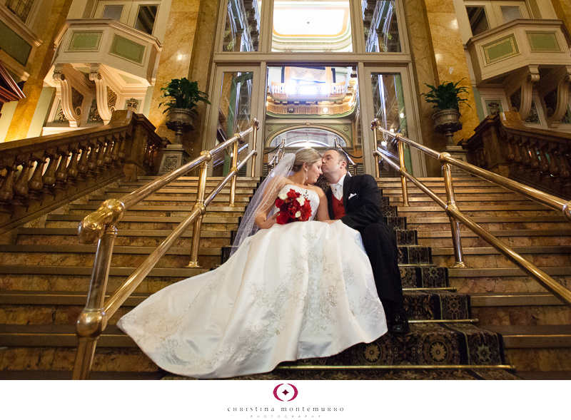Grand Concourse Staircase Pittsburgh Wedding Photography red bridal bouquet red vest