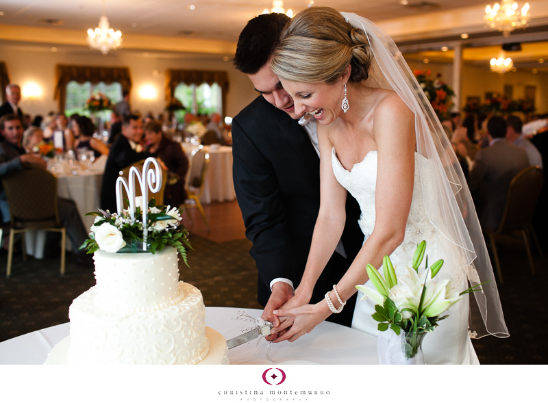 Lindsey Dan Cake Cutting Twelve Oaks Mansion Wedding Cranberry