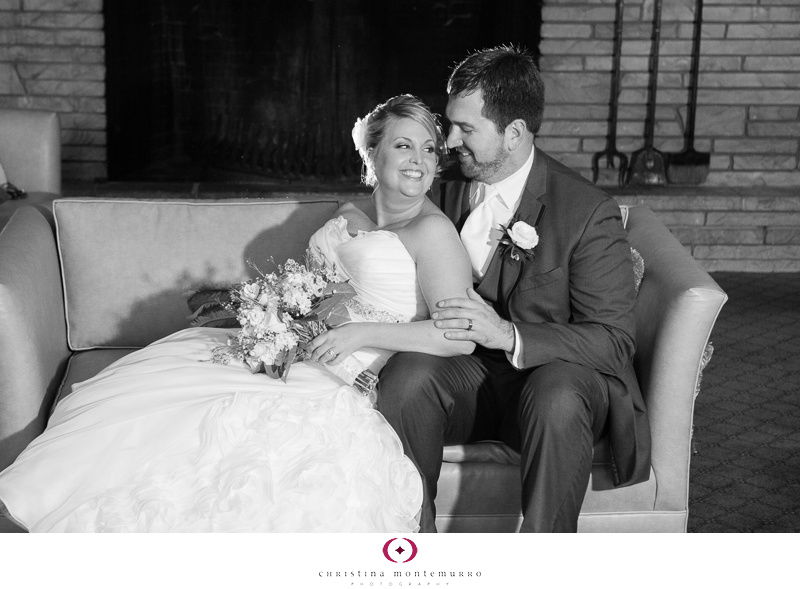 Rainy day inside bride and groom portrait Westmoreland Country Club Wedding