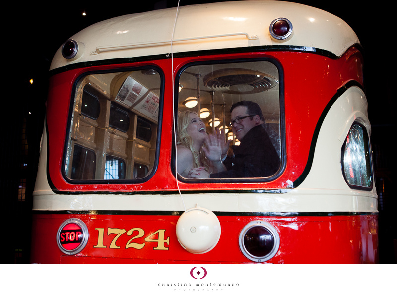 Bride and Groom Portraits Heinz History Center Trolley Pittsburgh Wedding Photography