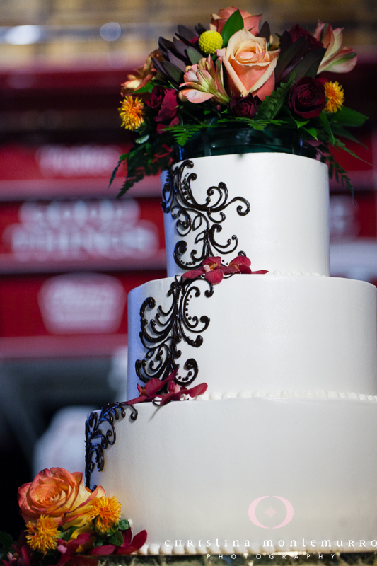 Pittsburgh Heinz History Center Wedding Cake with Ornate Icing and Floral Cake Topper