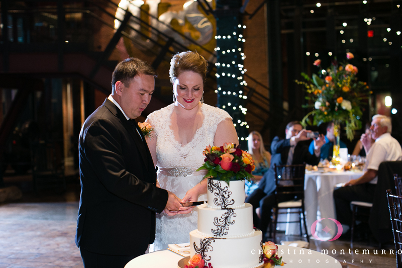 Bride and Groom Cake Cutting Great Hall Heinz History Center Pittsburgh Wedding Photos
