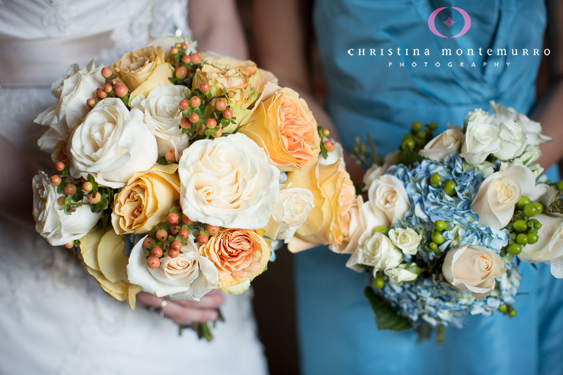 Blumengarten Pittsburgh Florist, bridal bouquet, bridesmaid bouquet, light blue bridesmaid dress, Pittsburgh wedding photographer, Pittsburgh Wedding Photography, rose hydrangea berry bouquet