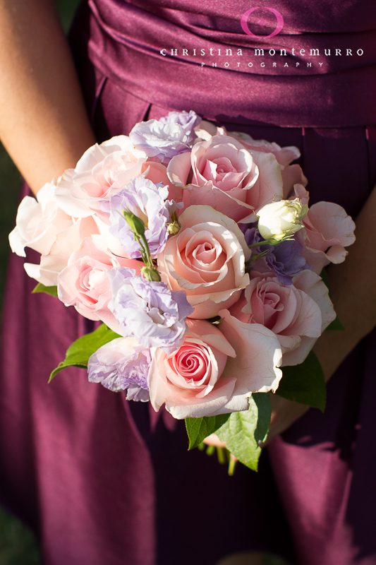 Blumengarten pink and lavender bridesmaid bouquet, Pittsburgh wedding photographer, Pittsburgh Wedding Photography, purple bridesmaid dress