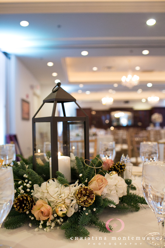 Lantern, Pine Cone and Floral Wedding Reception Centerpieces at Twelve Oaks Mansion Dragonfly Florist Pittsburgh Wedding