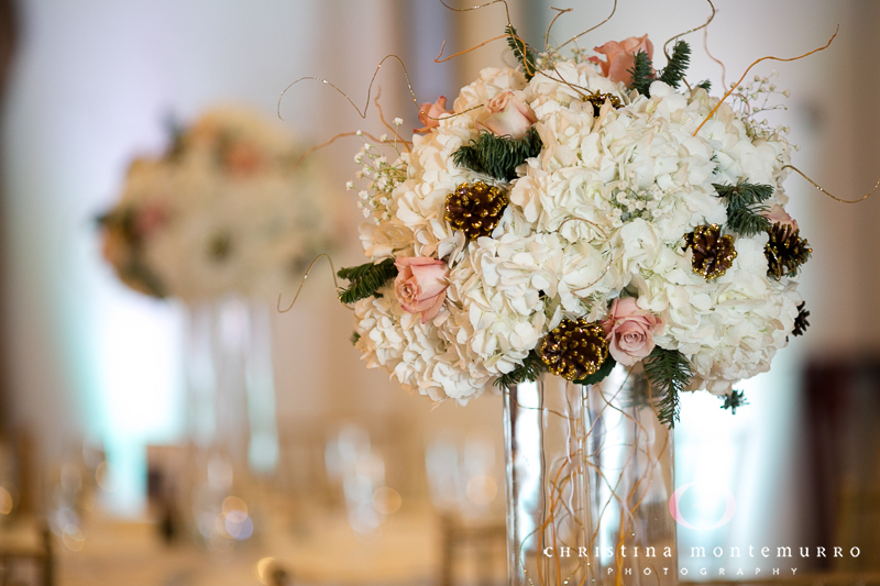 Tall White Hydrangea, Evergreen and Pine Cone Centerpieces Twelve Oaks Mansion Dragonfly Florist Pittsburgh Wedding