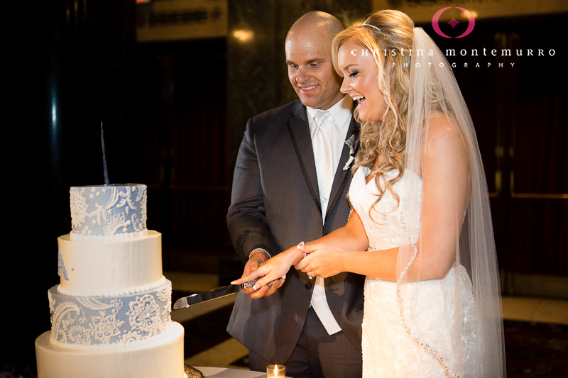 Cake Cutting at Carnegie Museum Music Hall Foyer Wedding Pittsburgh