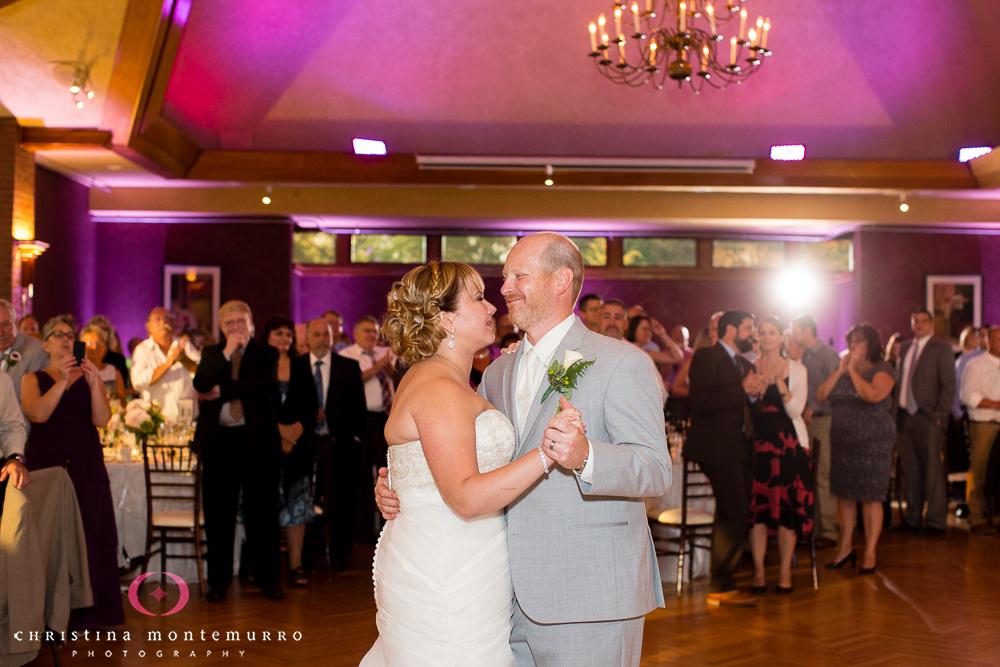 Rebekah Matt Edgewood Country Club Pittsburgh Wedding Photography First Dance Purple Uplighting