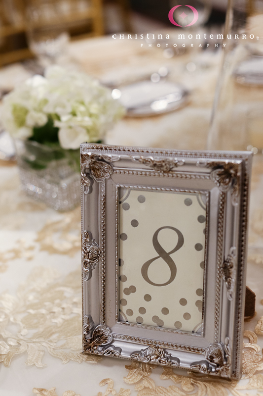 Silver Frame Table Number Low White Floral CenterpieceCarnegie ...