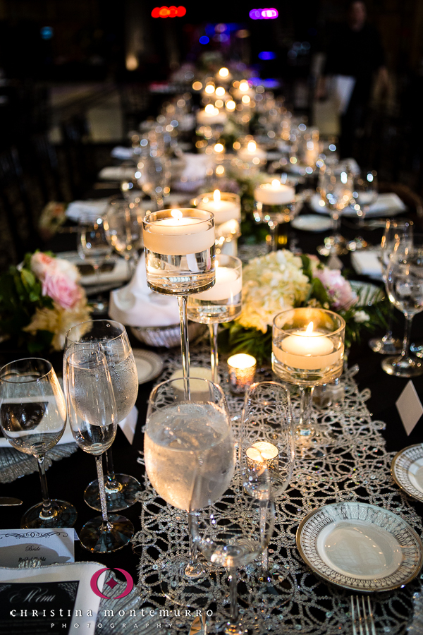 Low Floral Centerpiece Lace Table Runner Black Table Linens
