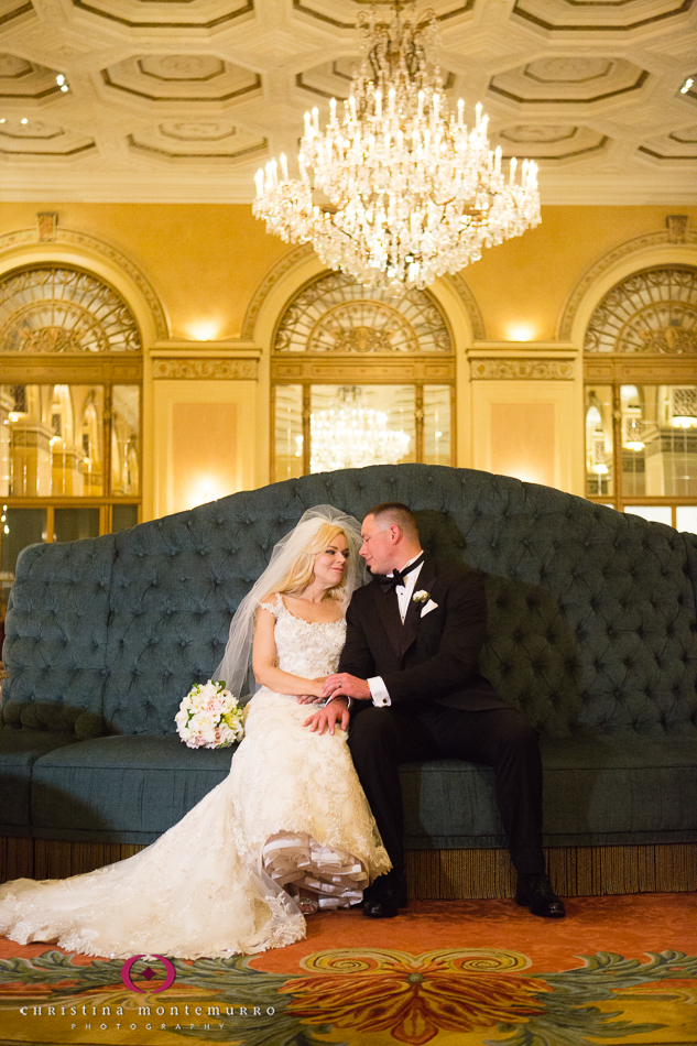 Bride and Groom in the Lobby at the Omni William Penn Urban Room Wedding Photography Pittsburgh Wedding Photographer