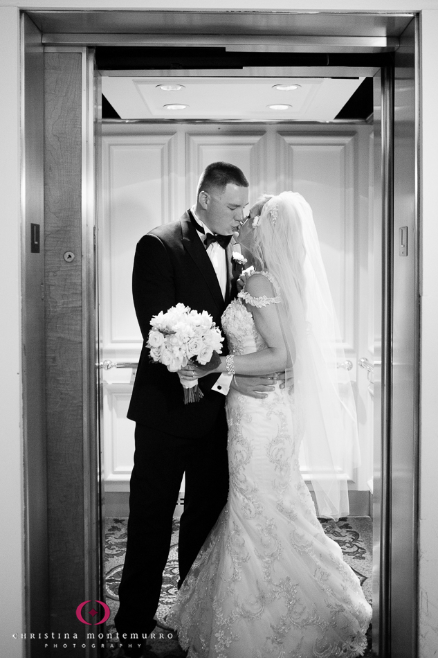 Bride and Groom Kiss in the Elevator Omni William Penn Urban Room Wedding Photography Pittsburgh Wedding Photographer