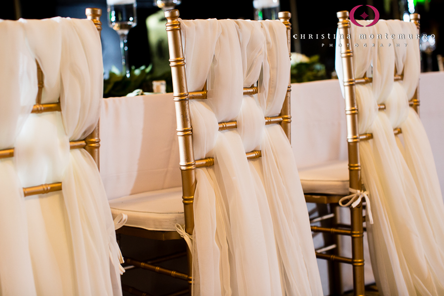 Gold Chiavari Chair with Ivory Fabric WovenOmni William Penn Pittsburgh Wedding Photography
