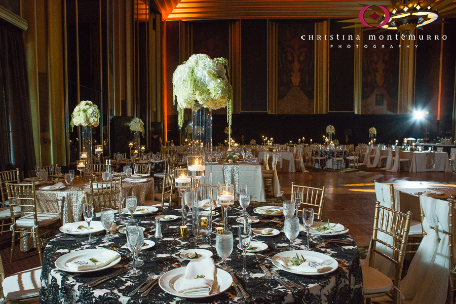Tall White Hydrangea Green Hanging Amaranthus Centerpiece Omni William Penn Urban Room Pittsburgh Wedding Photography