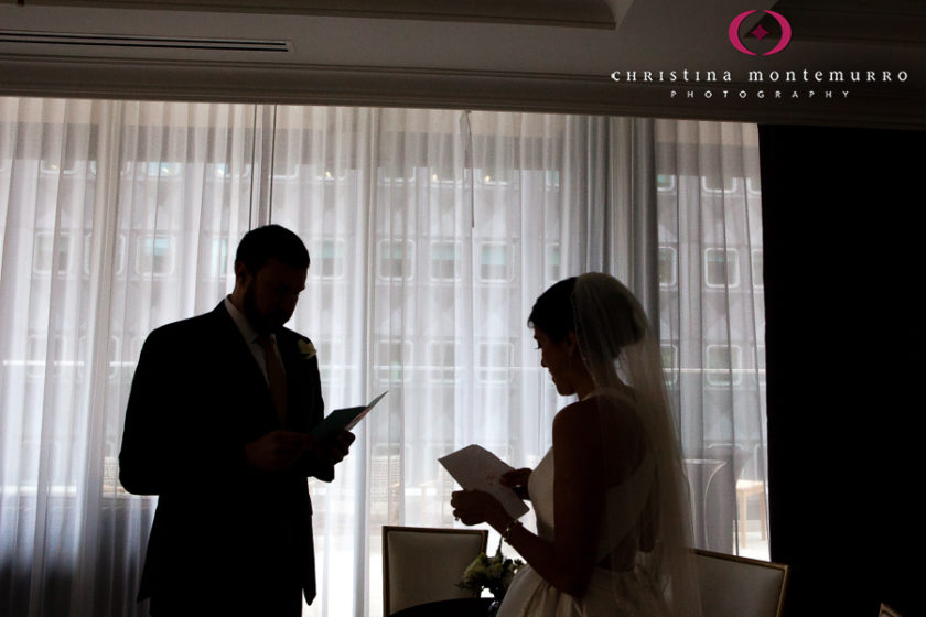 Kimpton Hotel Monaco Pittsburgh Wedding Photos Bride and Groom First Look Exchanging Cards