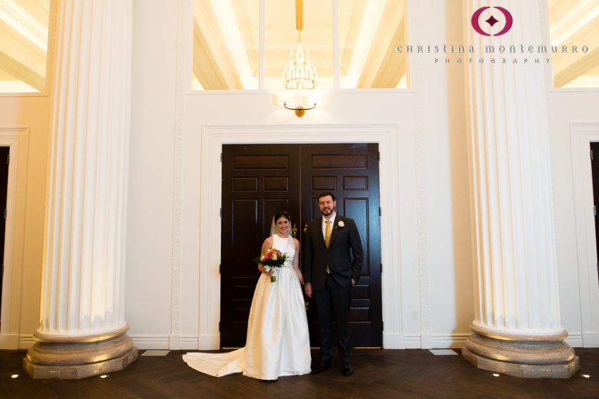 Kimpton Hotel Monaco Pittsburgh Wedding Photos Bride and Groom Portrait in White Banquet Foyer