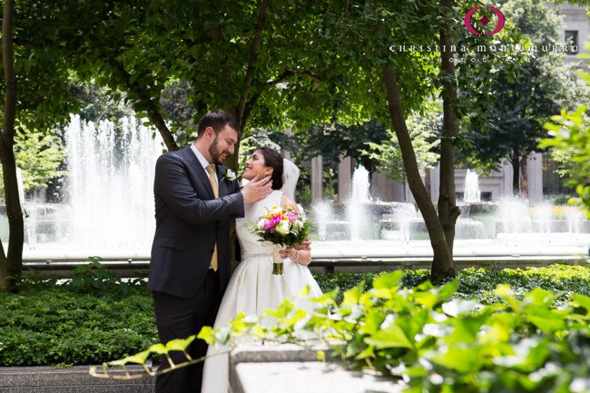 Pittsburgh Wedding Photos Bride and Groom Portrait Mellon Square Plaza
