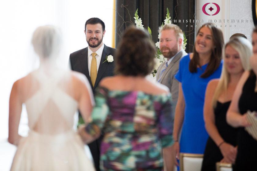 Kimpton Hotel Monaco Pittsburgh Groom Watching Bride Walk Down the Aisle Sofia Ballroom Wedding Ceremony