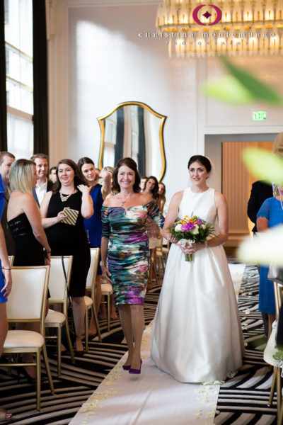 Kimpton Hotel Monaco Pittsburgh Bride Walking Down the Aisle Sofia Ballroom Wedding Ceremony