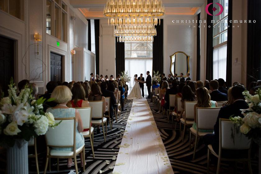 Kimpton Hotel Monaco Pittsburgh Wedding Ceremony Sofia Ballroom Aisle Runner with White Rose Petals