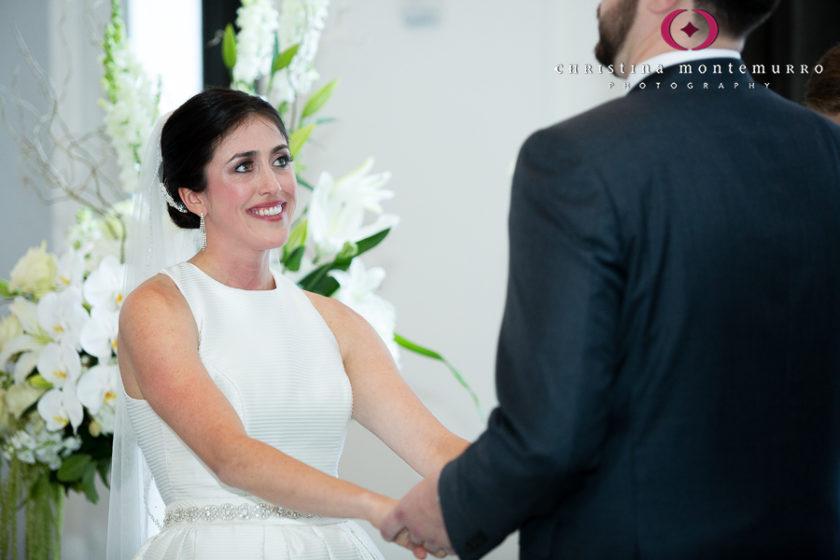 Kimpton Hotel Monaco Pittsburgh Wedding Photos Happy Bride during Wedding Ceremony in the Sofia Ballroom