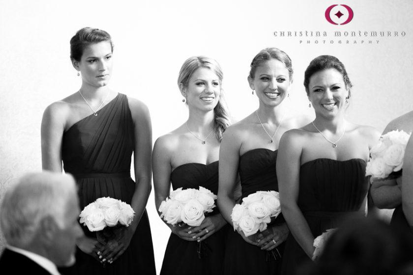 Kimpton Hotel Monaco Pittsburgh Wedding Photos Happy Bridesmaids during Wedding Ceremony in the Sofia Ballroom