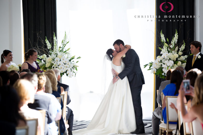 Kimpton Hotel Monaco Pittsburgh Bride and Groom First Kiss Wedding Ceremony Sofia Ballroom