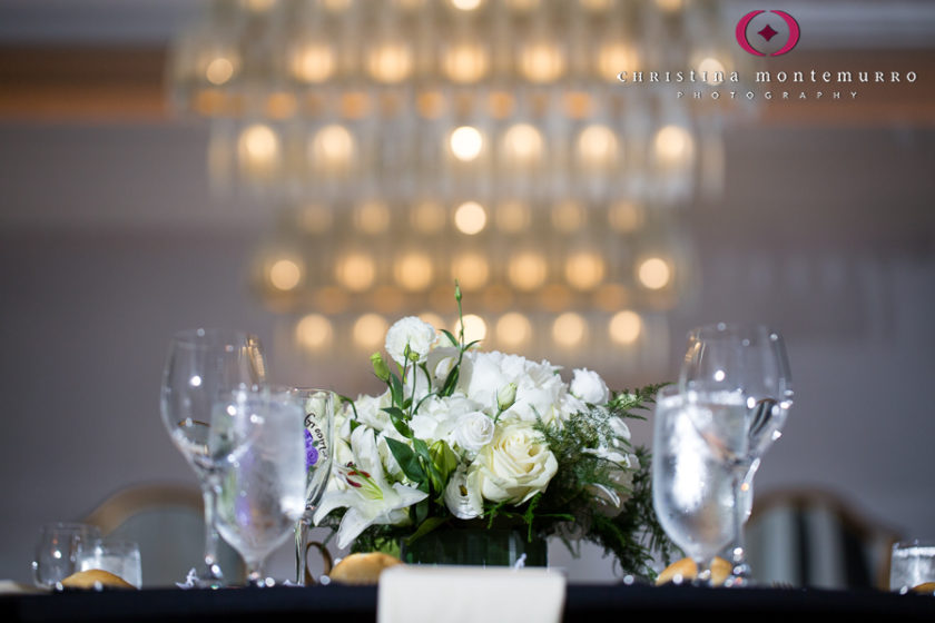 Kimpton Hotel Monaco Pittsburgh Wedding Photos Sheffield Ballroom Reception with Black Linens and White Floral Table Centerpieces