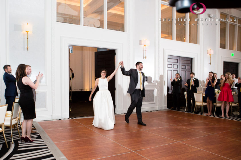 Kimpton Hotel Monaco Pittsburgh Wedding Photos Sheffield Ballroom Bride and Groom Grand Entrance to Reception