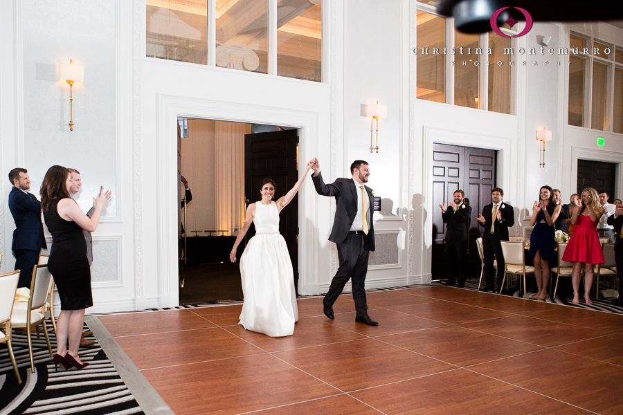 Kimpton Hotel Monaco Pittsburgh Wedding Photos Sheffield Ballroom Bride and Groom Grand Entrance to Reception