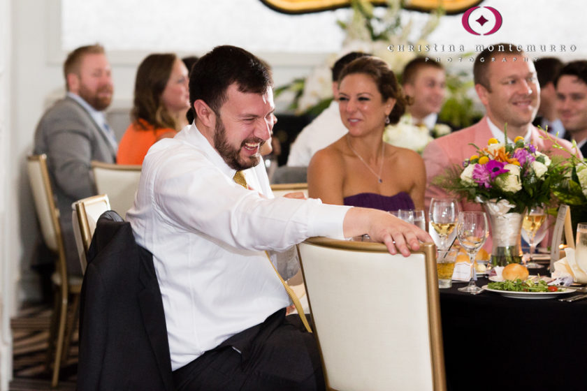 Kimpton Hotel Monaco Pittsburgh Wedding Photos Sheffield Ballroom Groom Laughing at Best Man Speech