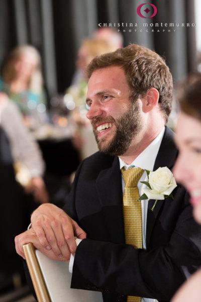 Kimpton Hotel Monaco Pittsburgh Wedding Photos Sheffield Ballroom Groomsman Laughing at Best Man Speech