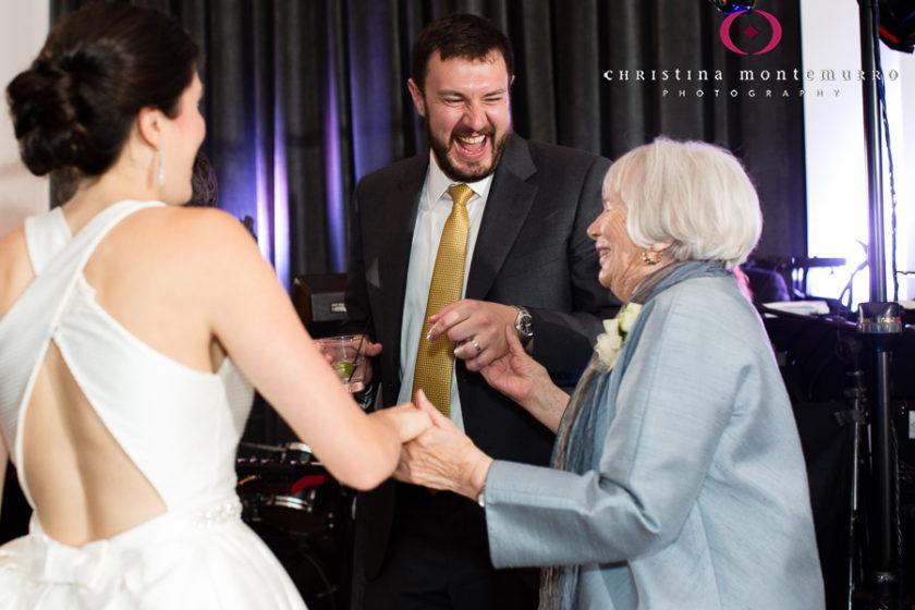 Kimpton Hotel Monaco Pittsburgh Wedding Photos Sheffield Ballroom Bride and Groom Dancing with Grandmother